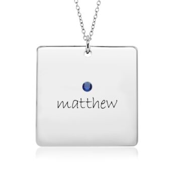 Birthstone Moms Necklace with Square Charms