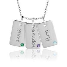 Three Mini Dog Tag Birthstone Necklace