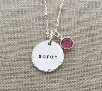 Single Hammered Disc Mom Necklace
