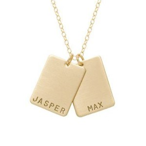 rectangle 2 name tag necklace