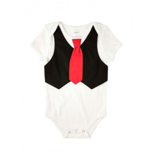 Black Vest Onesie with Red Tie