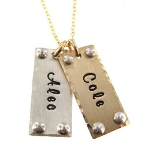*Mixed Metal Personalized Tag Necklace with Rivets