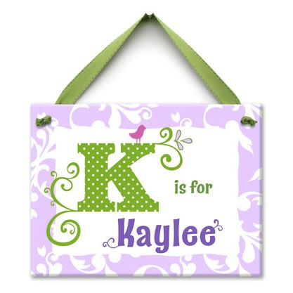 monogram me lavender and green wall tile