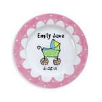 baby carriage girl personalized plate