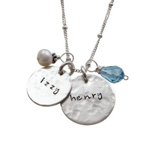 Personalized Moms Necklace - Hammered Charming Duo