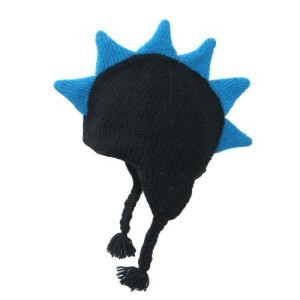 mohawk hat - black with blue spikes