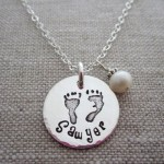 Personalized Mom Baby Feet Necklace