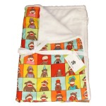 sock monkey mini minky baby blanket