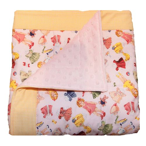 paper dolls quilted blanket