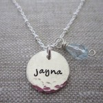 hammered single charm personalized necklace