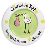 stork girl personalized plate