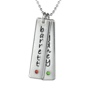 Two Tall Tag Birthstone Necklace