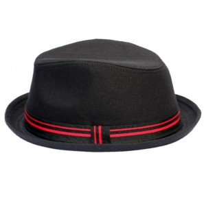Black Fedora with Black and Red Band
