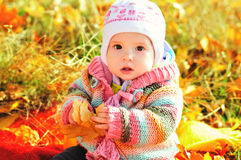 http://www.dreamstime.com/stock-photography-baby-fall-time-sitting-leaf-image35955872