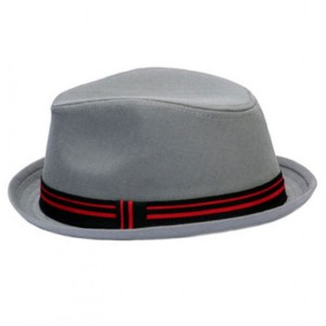 Gray Fedora with Black and Red Band