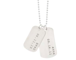 Two Dog Tags with Name and Date