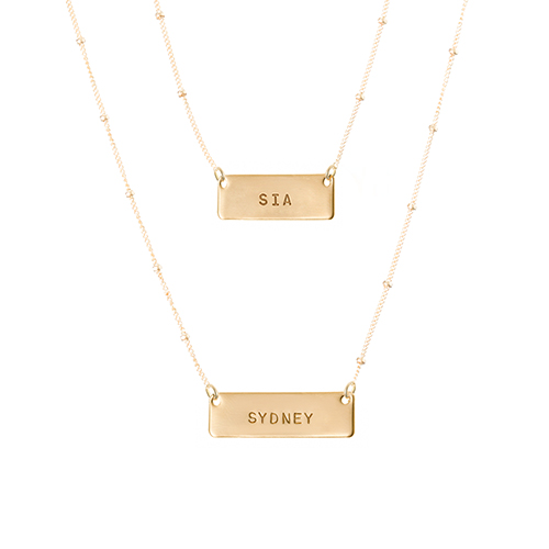Double Layered Horizontal tag Necklace