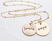 Gold Classic Disc Mom Necklace