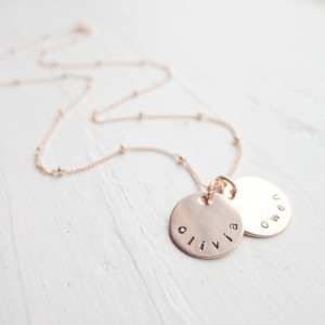 Rose Gold Classic Disc Mom Necklace