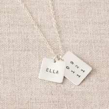 Square and Rectangle Name Tag Necklace