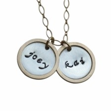 Personalized Gold Rim Silver Charm Necklace