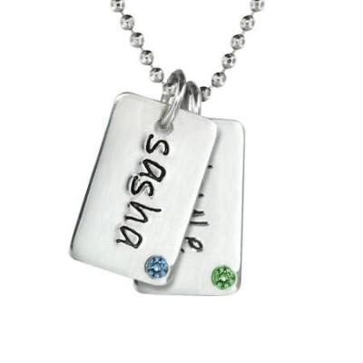 Two Mini Dog Tag Birthstone Necklace
