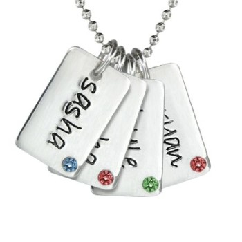 Four Birthstone Mini Dog Tags Necklace
