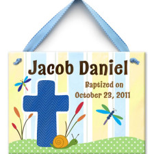 boy baptism tile wall plaque