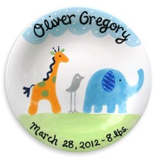 Safari boy birth announcement plate