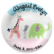 safari girl birth announcement plate