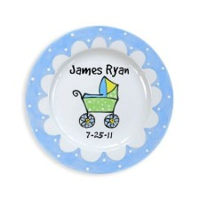 baby carriage boy personalized kids plate