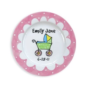 Personalized Baby carriage girl plate