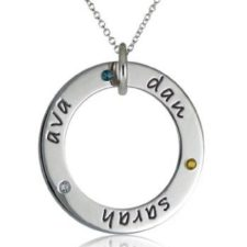 personalized birthstone loop necklace