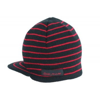 black and red striped beanie