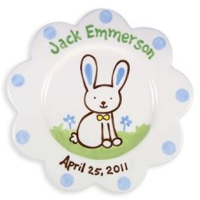 scalloped bunny boy kids plate