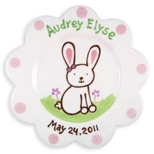 scalloped bunny girl kids plate