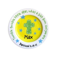 boy baptism cross and stars personalized plate
