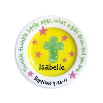 girl baptism cross and stars personalized plate