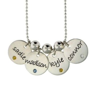 Four Disc Birthstone Personalized Necklace
