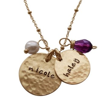 Hammered charming duo gold moms necklace