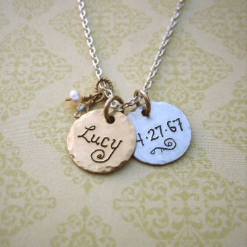 Silver and Gold Hammered Disc Necklace