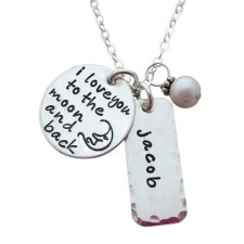 To the Moon and Back Tag Charm Necklace