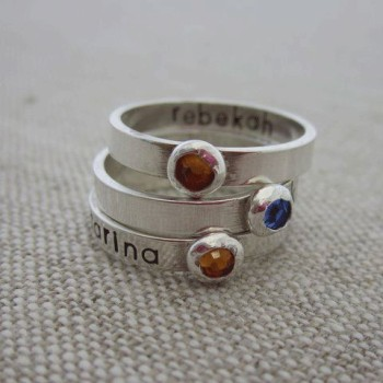 Personalized Mother Ring with Birthstone