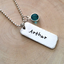 Personalized Silver Hammered Edge Tag Necklace
