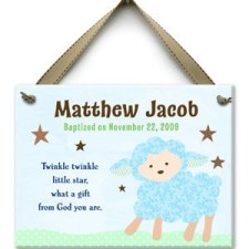 Twinkle Little Lamb Boy Baptism Tile
