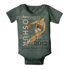 personalized vintage basketball onesie