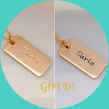 Mom Tag Necklace in Gold Fill
