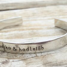 Sterling Silver Name and Birthstone Cuff