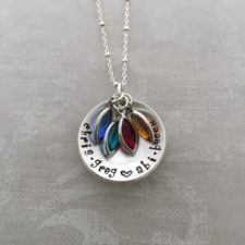 cupped personalized moms necklace