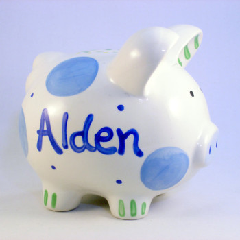 Blue piggy bank for baby